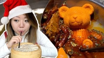 CHRISTMAS CHINESE FOOD TOUR Teddy Bear SICHUAN HOTPOT GIANT Soup Dumplings