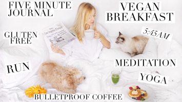 MY HEALTHY MORNING ROUTINE Vegan Breakfast Bulletproof Coffee 5 Minute Journal Yoga Meditation